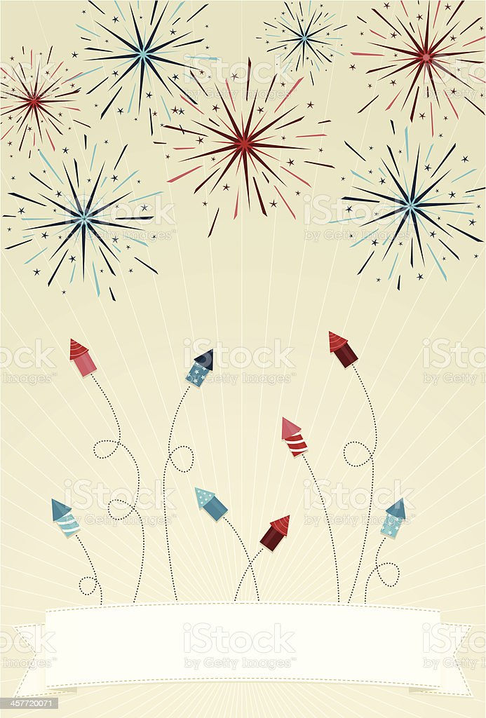 Festive fireworks and rockets with banner royalty-free stock vector art