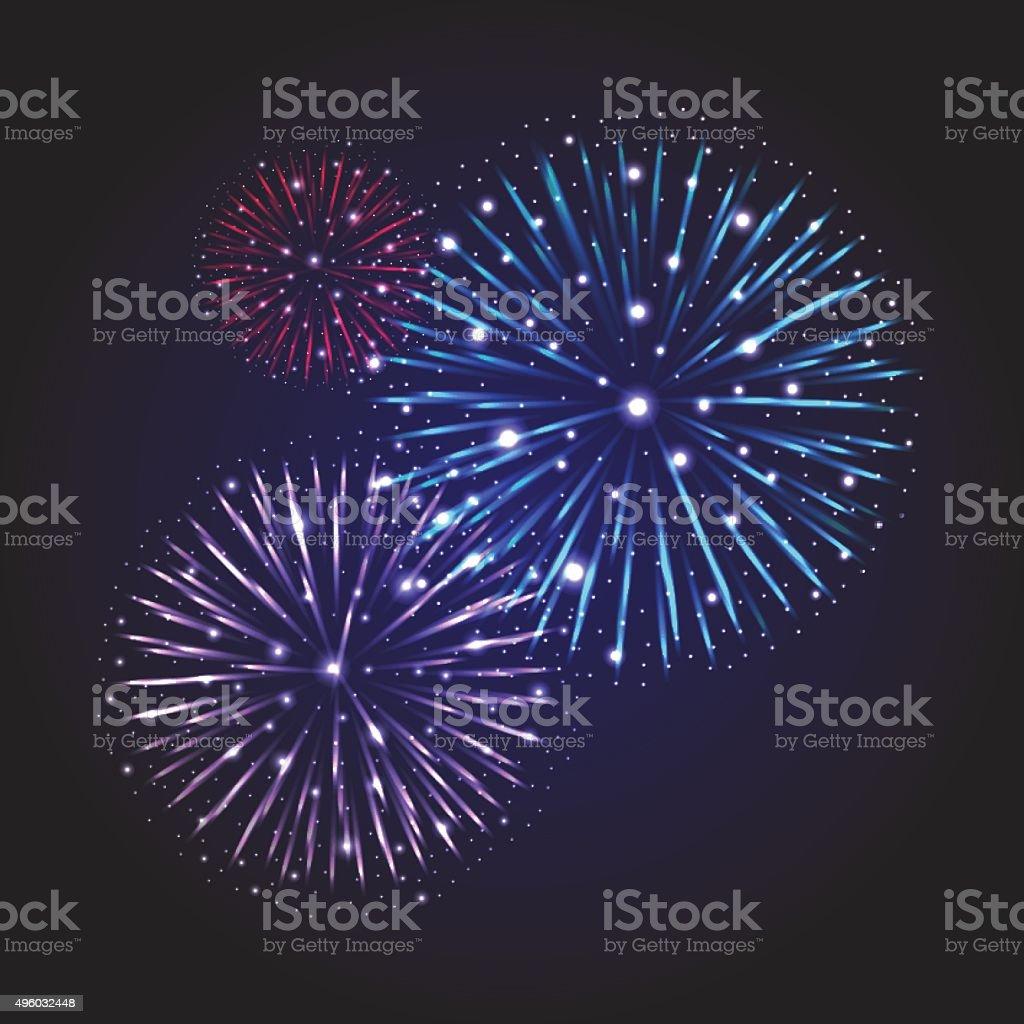 Festive Fireworks. Holidays Background vector art illustration