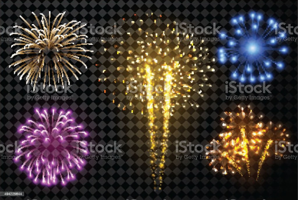 Festive fireworks set vector art illustration