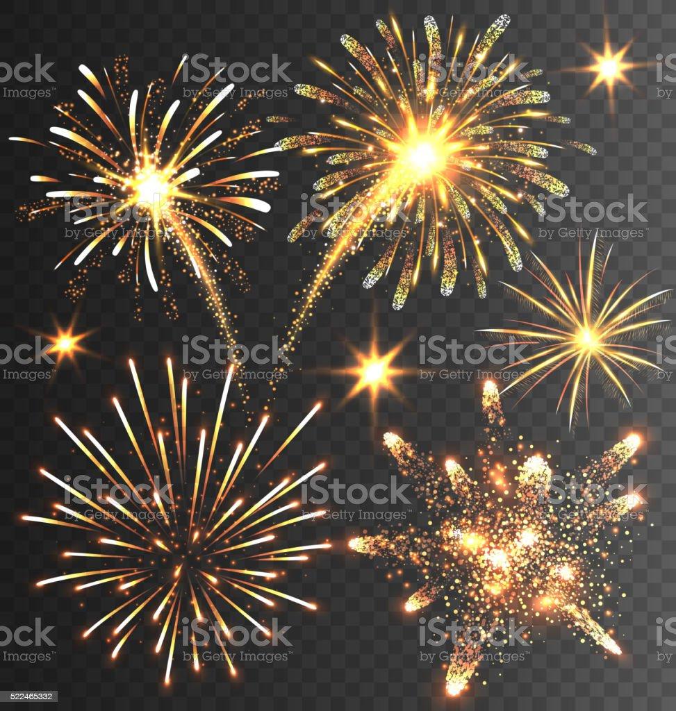 Festive Golden Firework Salute Burst on Black vector art illustration