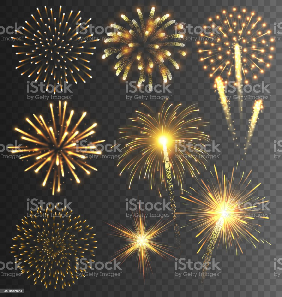 Festive Golden Firework Salute Burst on Transparent vector art illustration