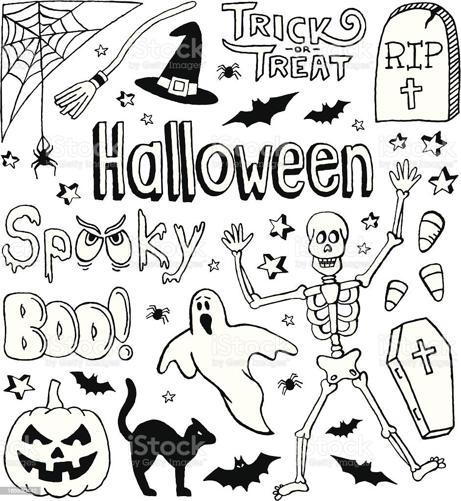 Festive holiday themed small sketches for All Hallows' eve vector art illustration