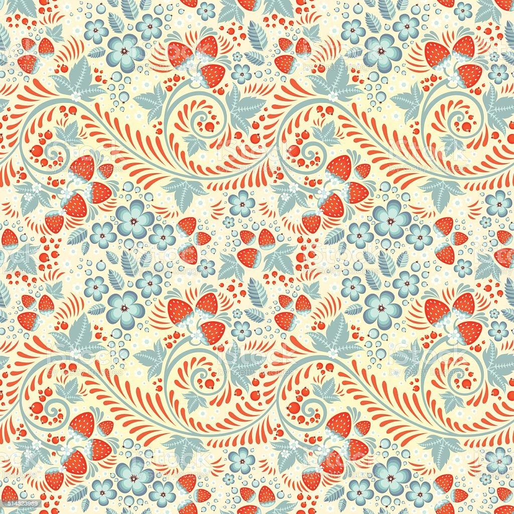 Festive khokhloma seamless pattern vector art illustration
