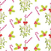 Festive kissing bough seamless vector pattern.