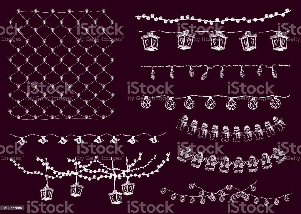 festive lights vector art illustration