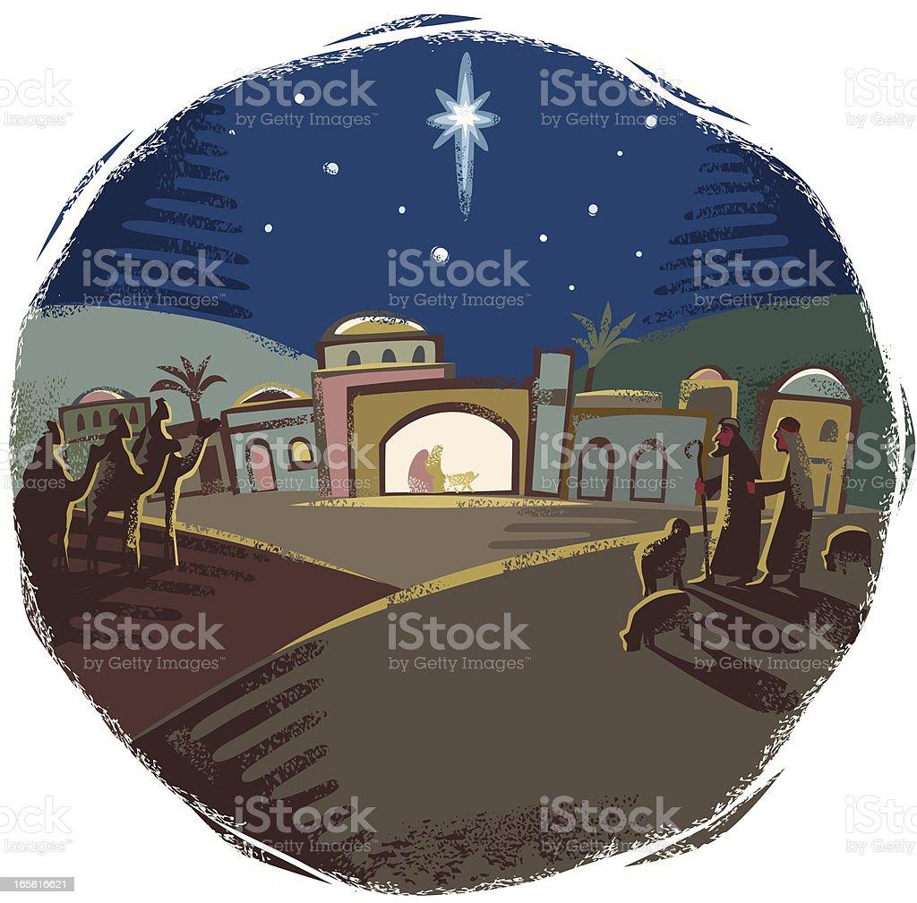 Festive Nativity scene vector art illustration