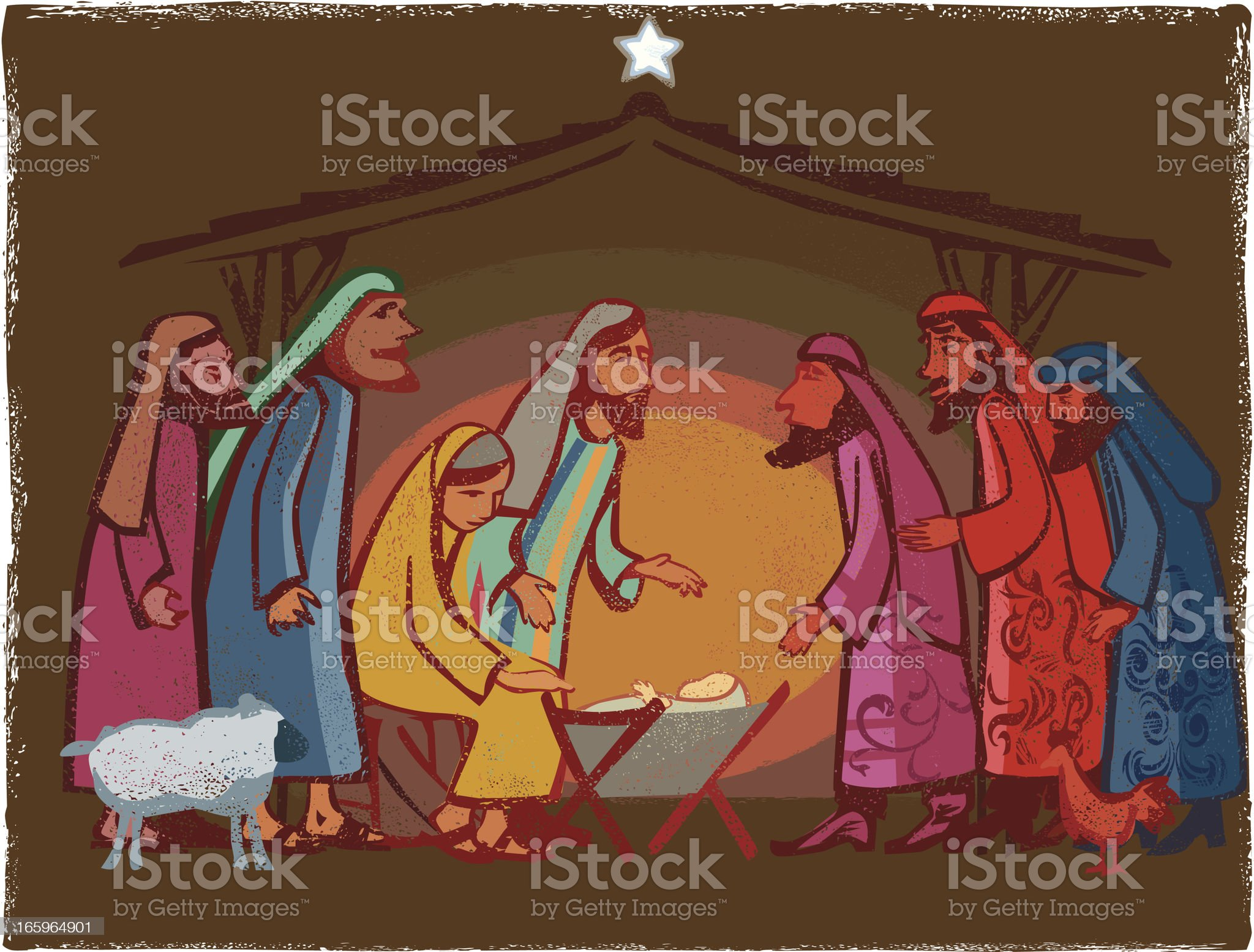 Festive Nativity scene royalty-free stock vector art
