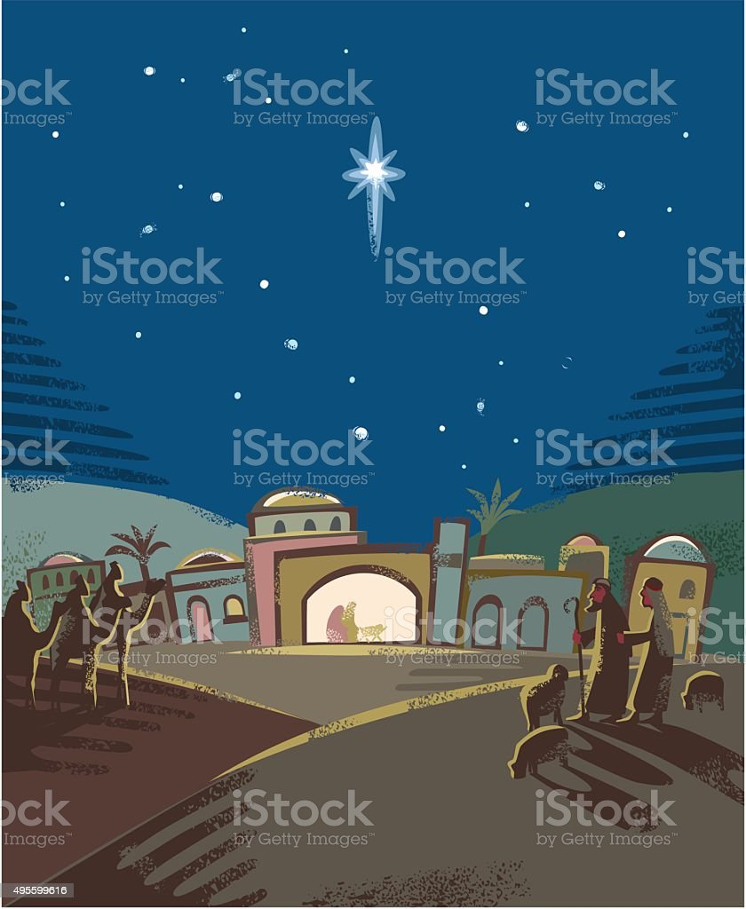 Festive Nativity scene vector art illustration