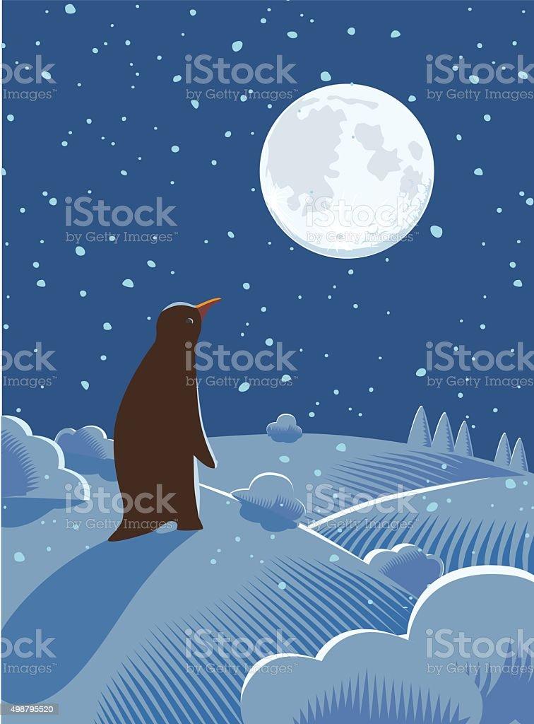 Festive Penguin at Night vector art illustration