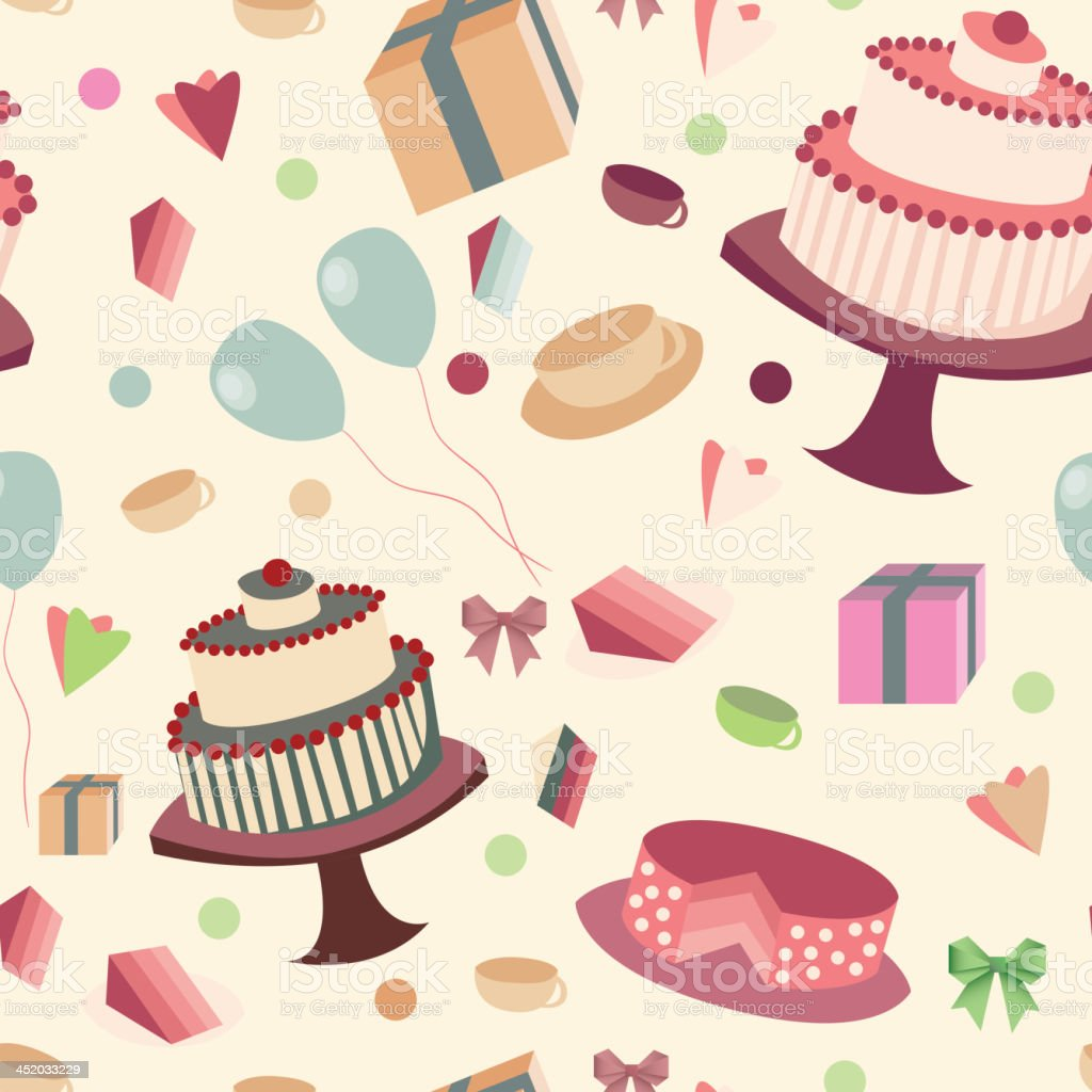 festive seamless background with sweets and tea royalty-free stock vector art