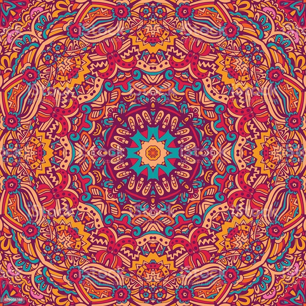 festive seamless pattern doodle mandala vector art illustration
