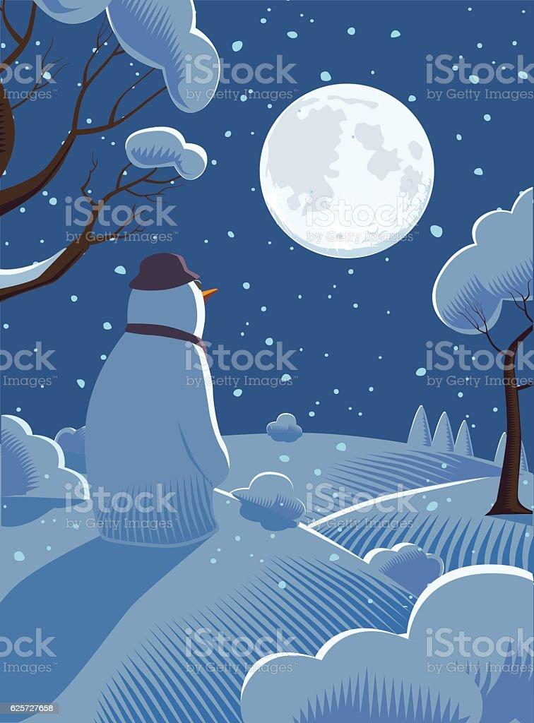 Festive Snowman at Night vector art illustration