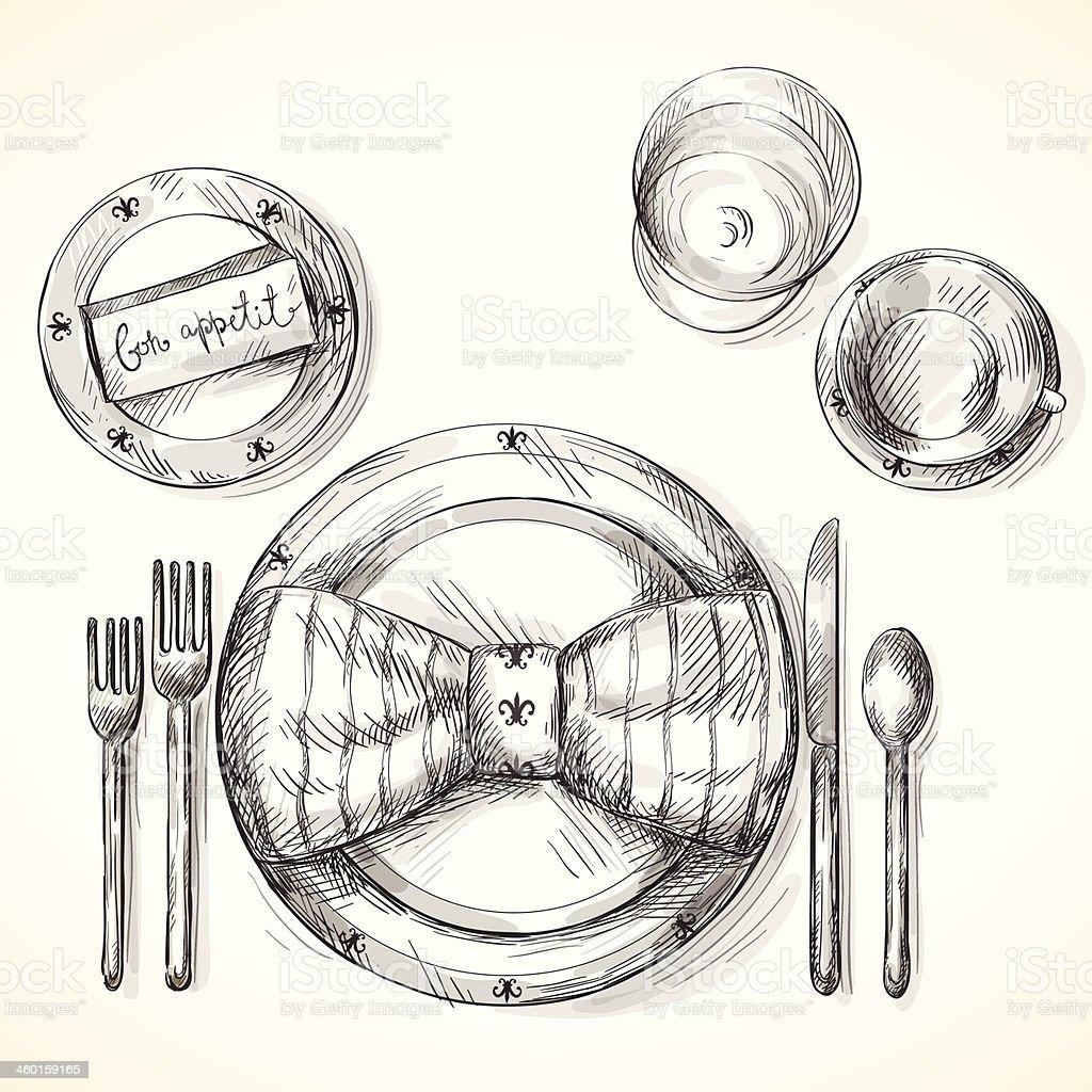 Festive table setting vector art illustration