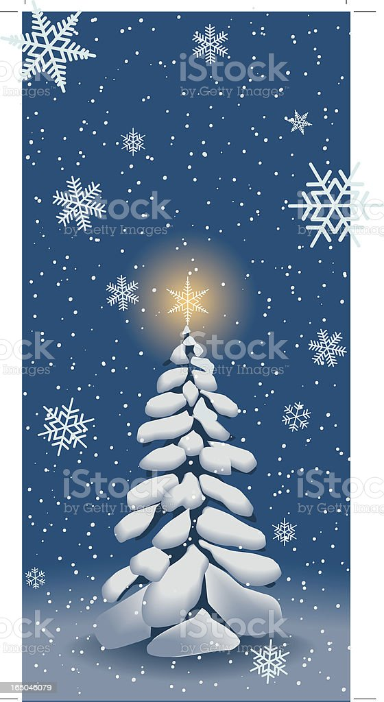 Festive tree with snow royalty-free stock vector art