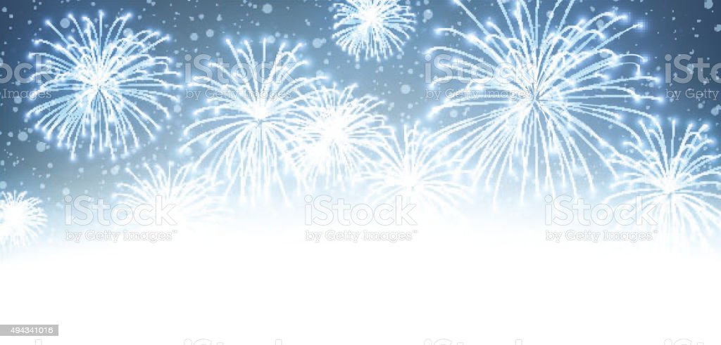 Festive xmas firework background vector art illustration