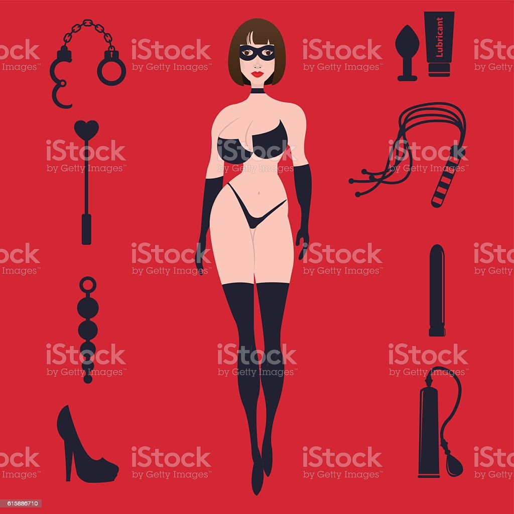 Fetish BDSM sexy woman in lingerie with sex toys. vector art illustration