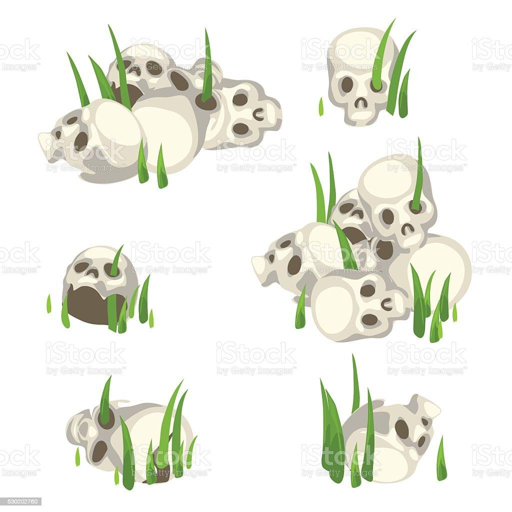 Few piles of human skulls in the grass vector art illustration