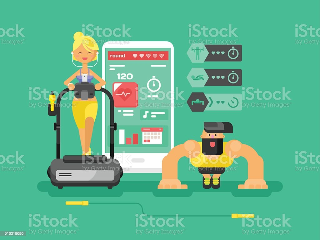 Ffitness app man and woman flat design vector art illustration