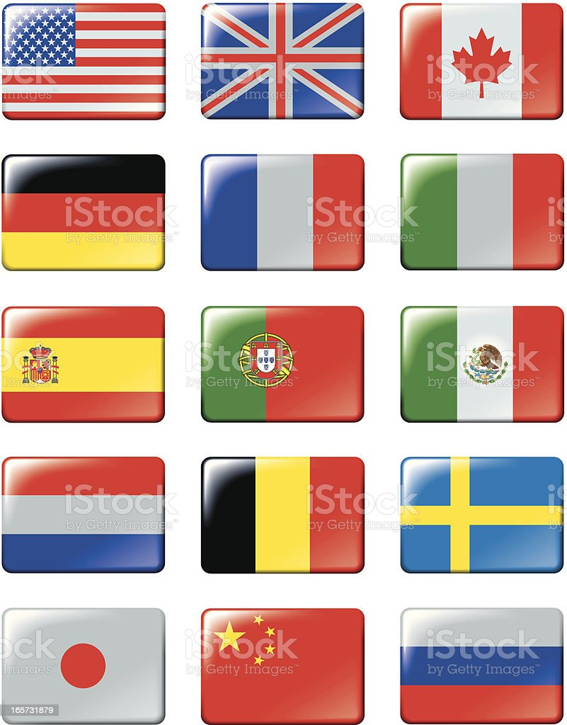 Fflags of main world states1 royalty-free stock vector art
