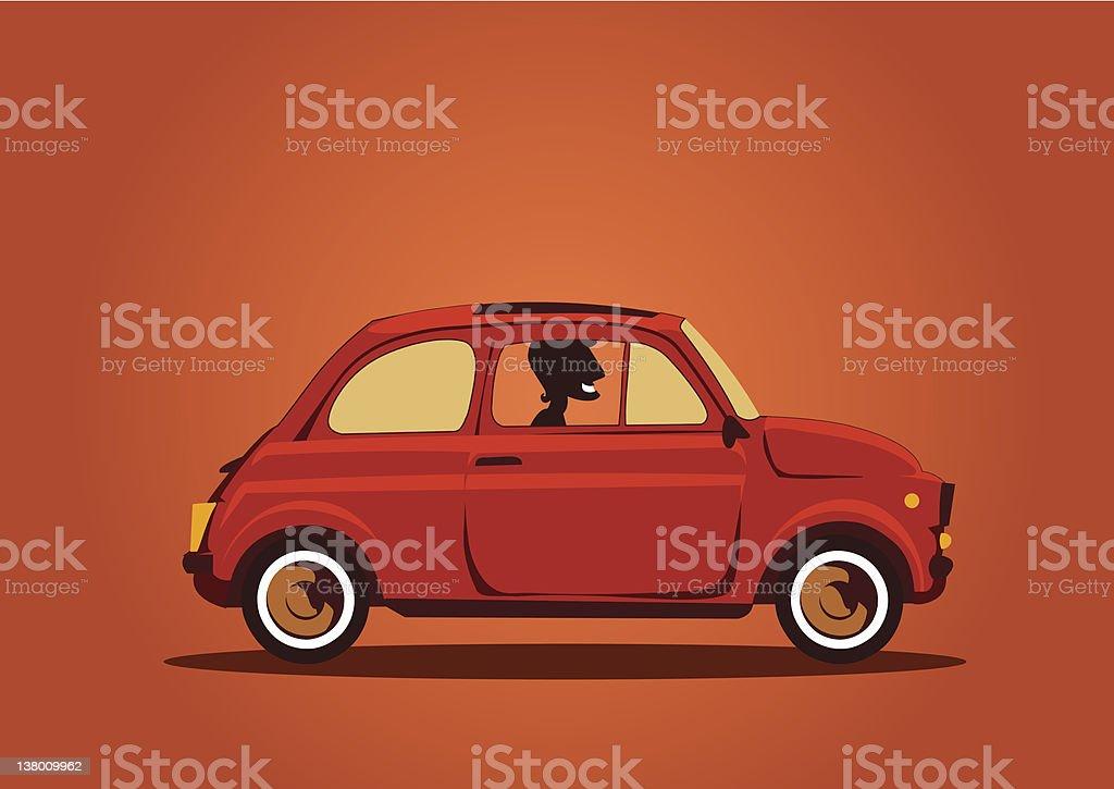 Fiat 500 Cinquecento Car with driver vector art illustration