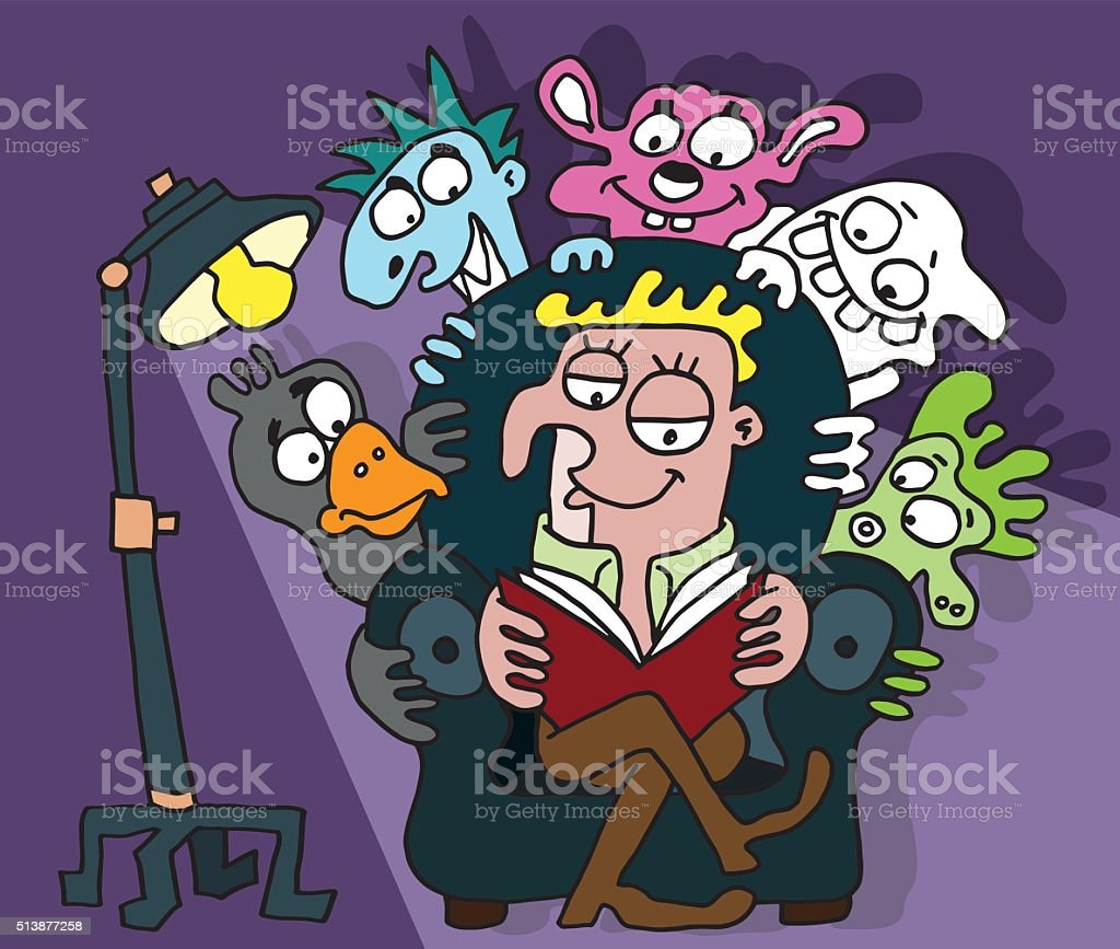 Fictional characters hiding behind a reader vector art illustration