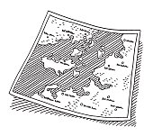Fictional Paper Map Drawing