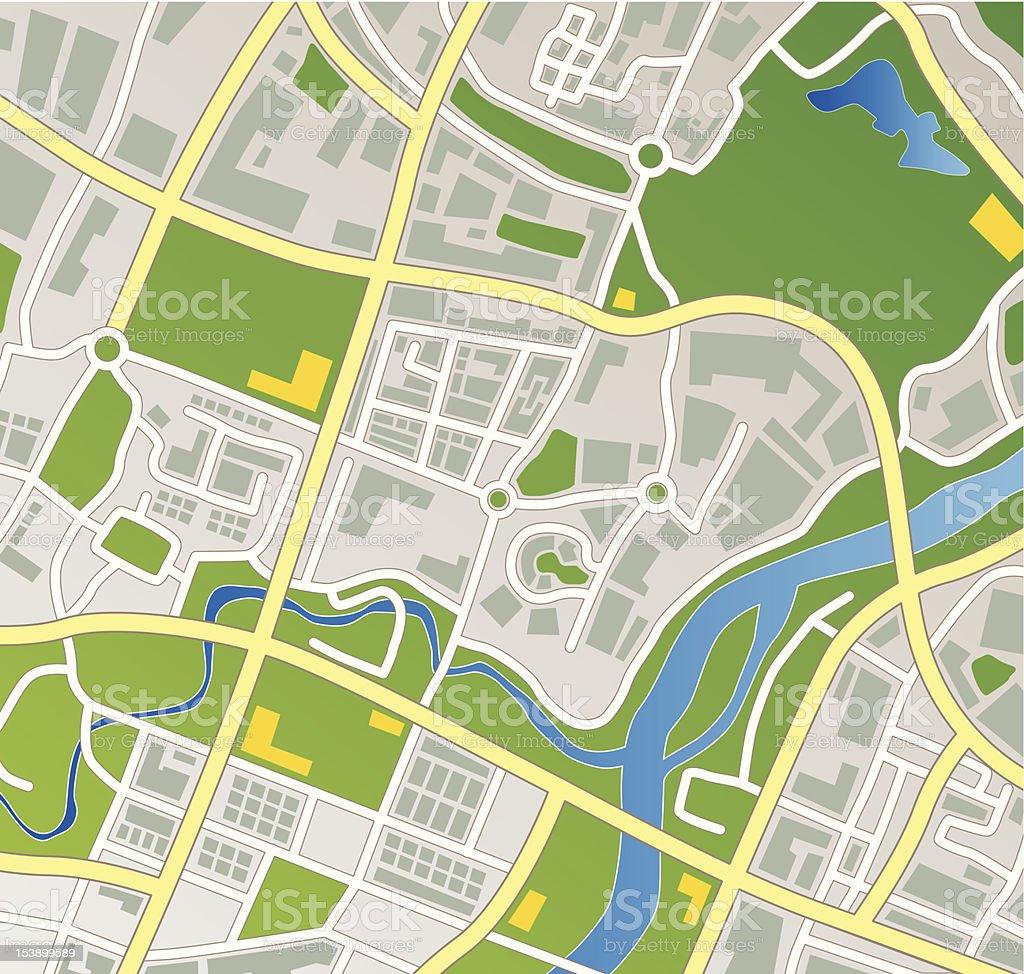 Fictional Town Map vector art illustration