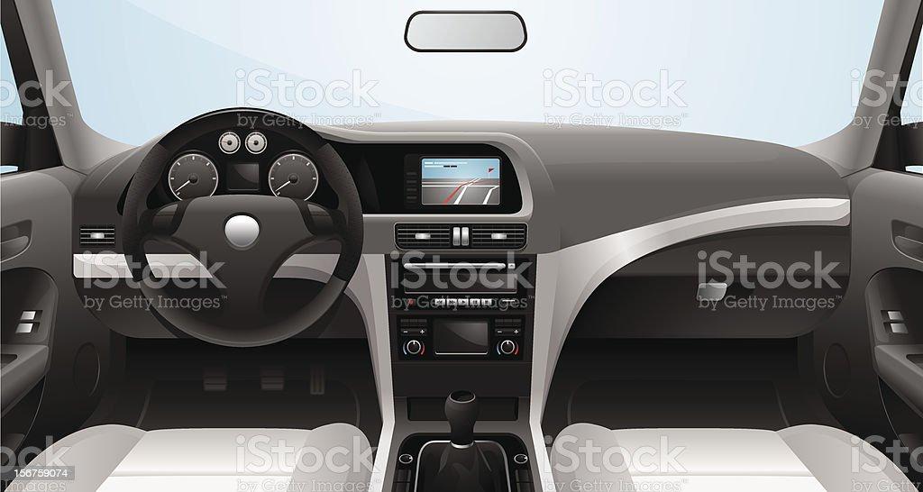 Fictional Vector Car Cockpit vector art illustration