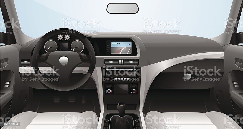 Fictional Vector Car Cockpit vector art illustration