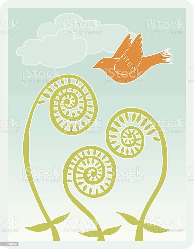 Fiddlehead ferns with bird and clouds vector art illustration