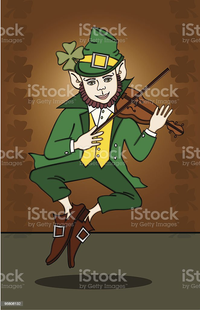 Fiddle-Playing Leprechaun royalty-free stock vector art