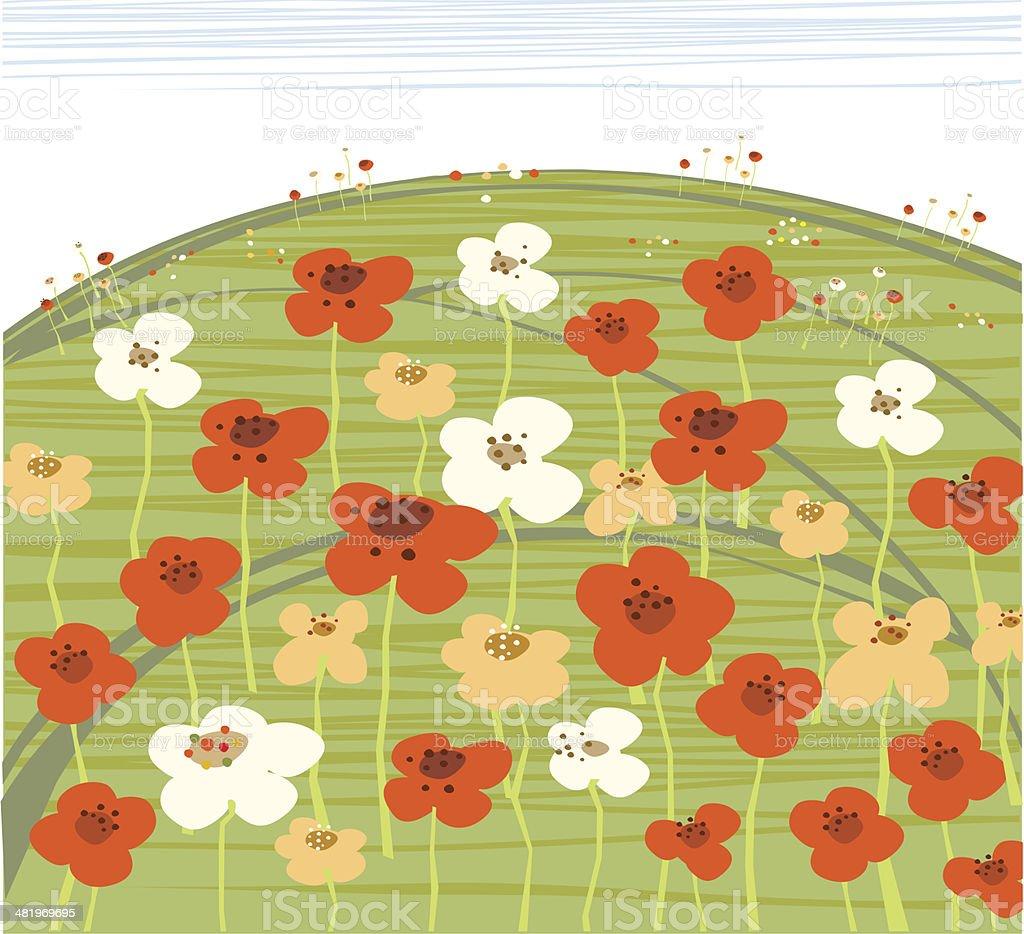 Field Flowers On Summeer Day royalty-free stock vector art