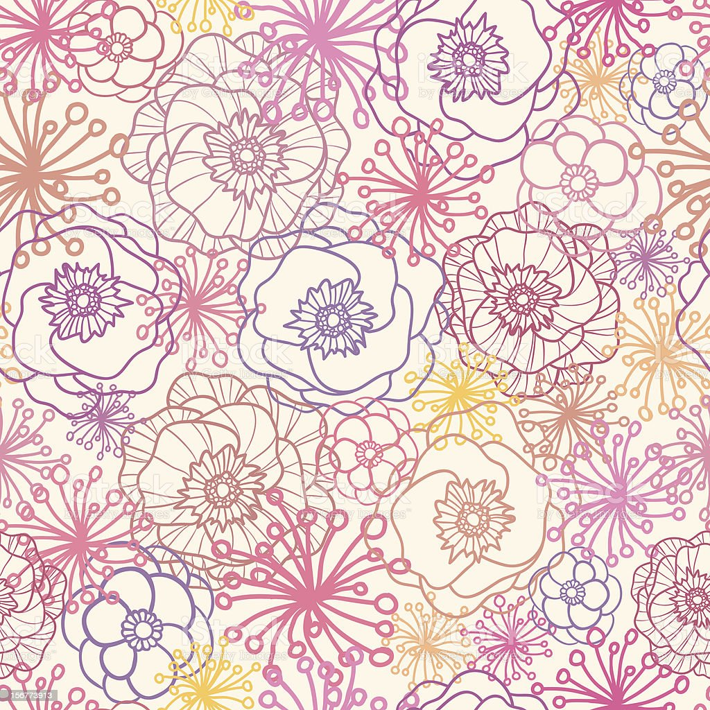 Field Flowers Seamless Pattern Background royalty-free stock vector art
