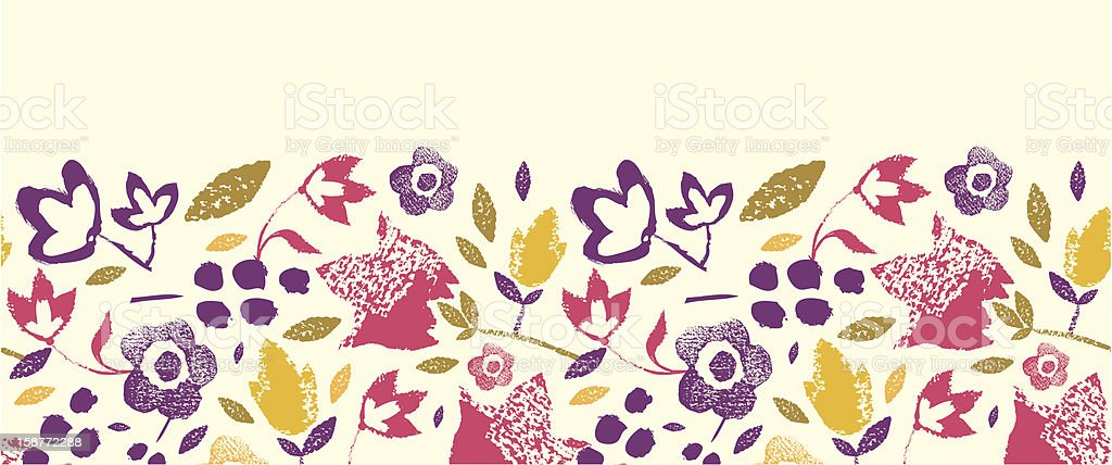 Field Flowers Stamp Horizontal Seamless Pattern Ornament royalty-free stock vector art