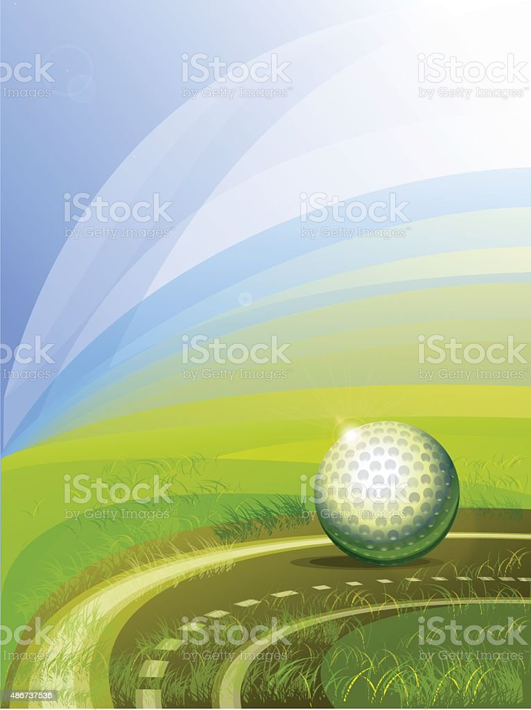 Field hockey pitch made from artificial turf with a ball. vector art illustration