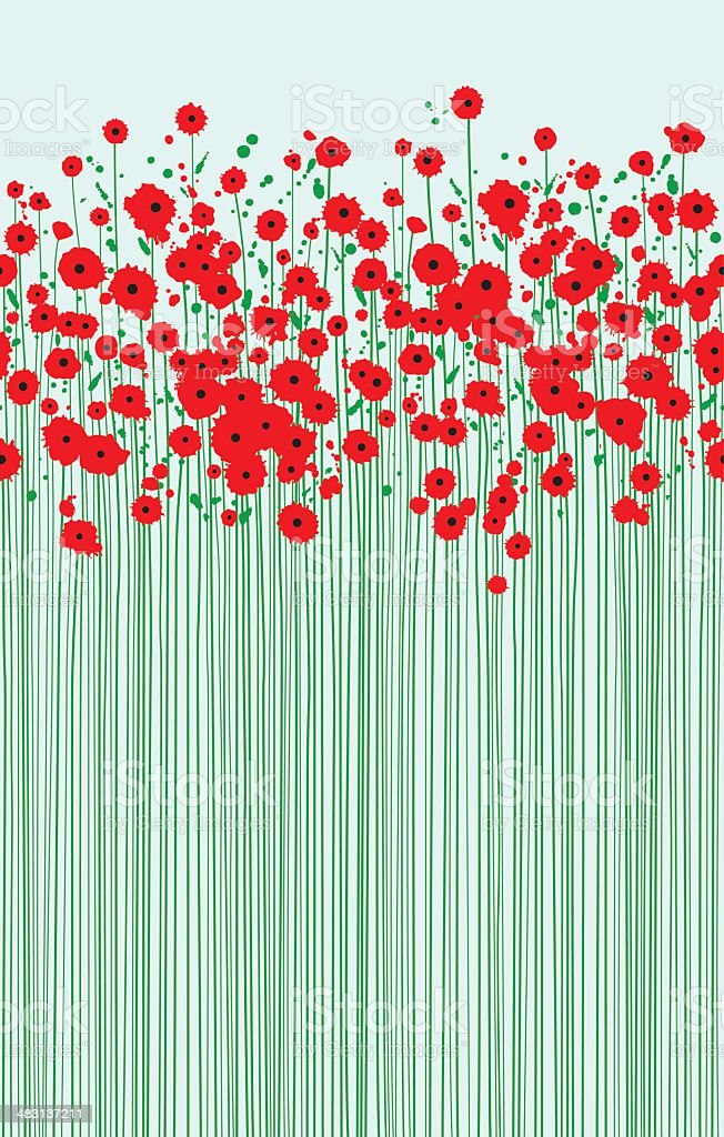 field of fragile scarlet poppies clear blue sky vector art illustration