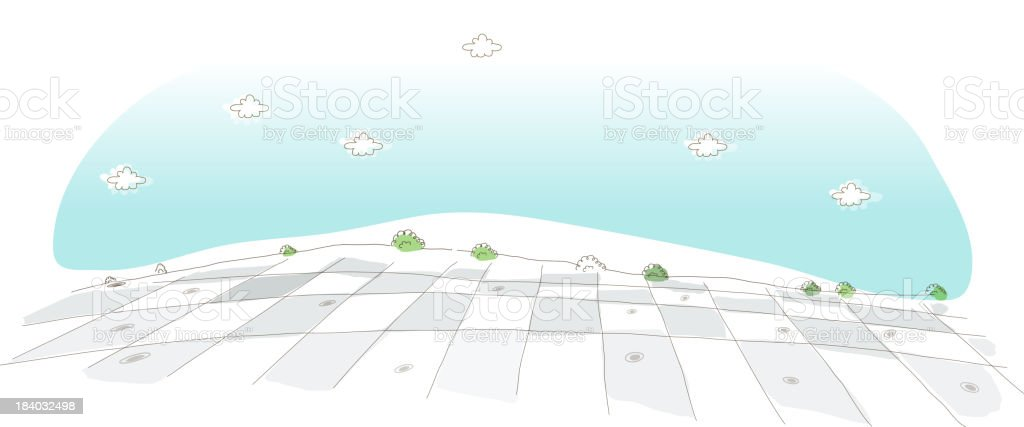 Field patches, aerial view vector art illustration
