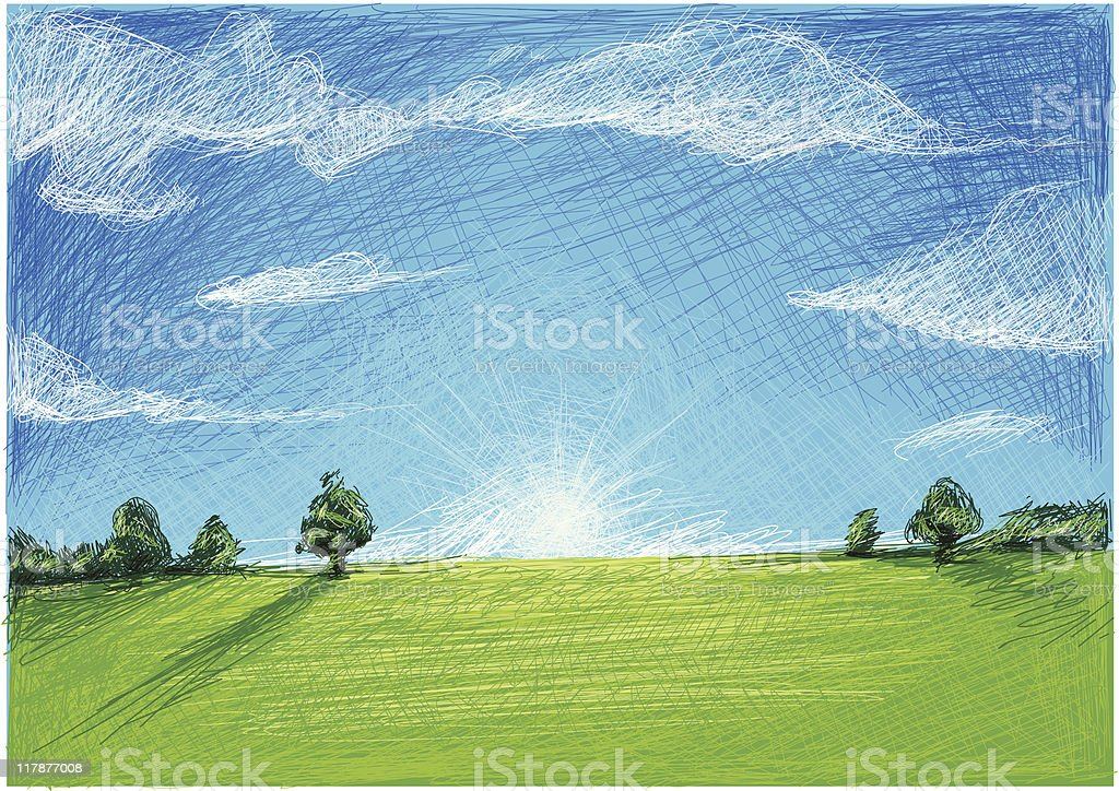 field with blue sky royalty-free stock vector art