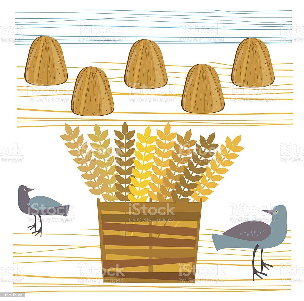 Field With Haystacks and Birds vector art illustration