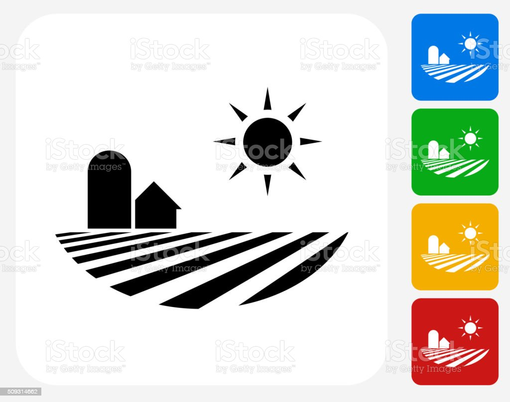 Fields Icon Flat Graphic Design vector art illustration