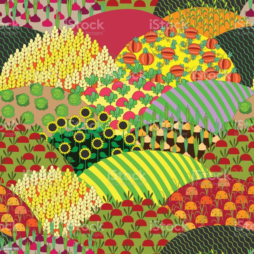 Fields Seamless Pattern. Cartoon farming landscape. vector art illustration
