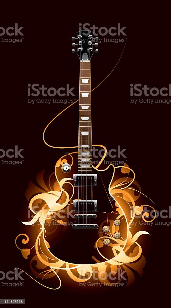 A fierce guitar with burning flames in an abstract picture royalty-free stock vector art