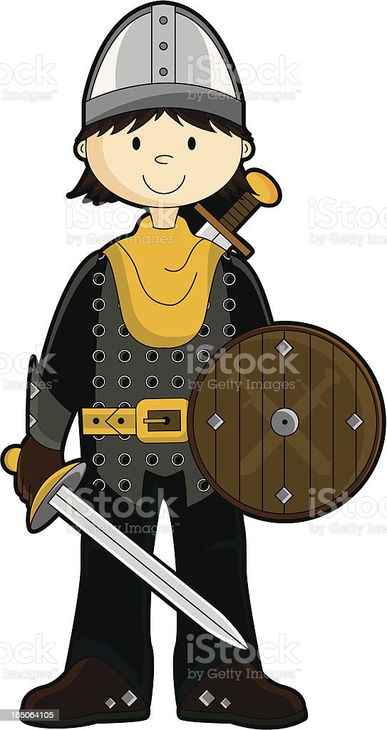 Fierce Royal Knight with Sword & Shield royalty-free stock vector art
