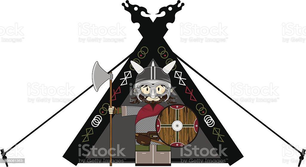 Fierce Viking and Tent vector art illustration