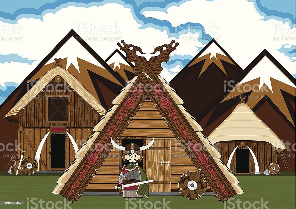Fierce Viking Warrior Village Scene royalty-free stock vector art