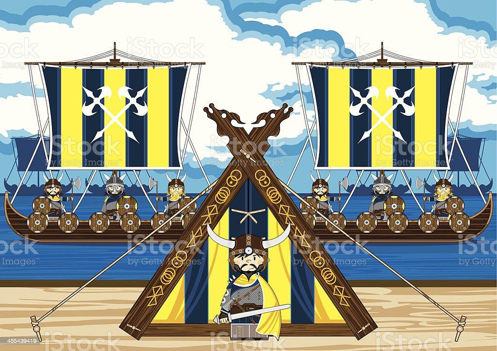 Fierce Viking Warriors & Longships royalty-free stock vector art