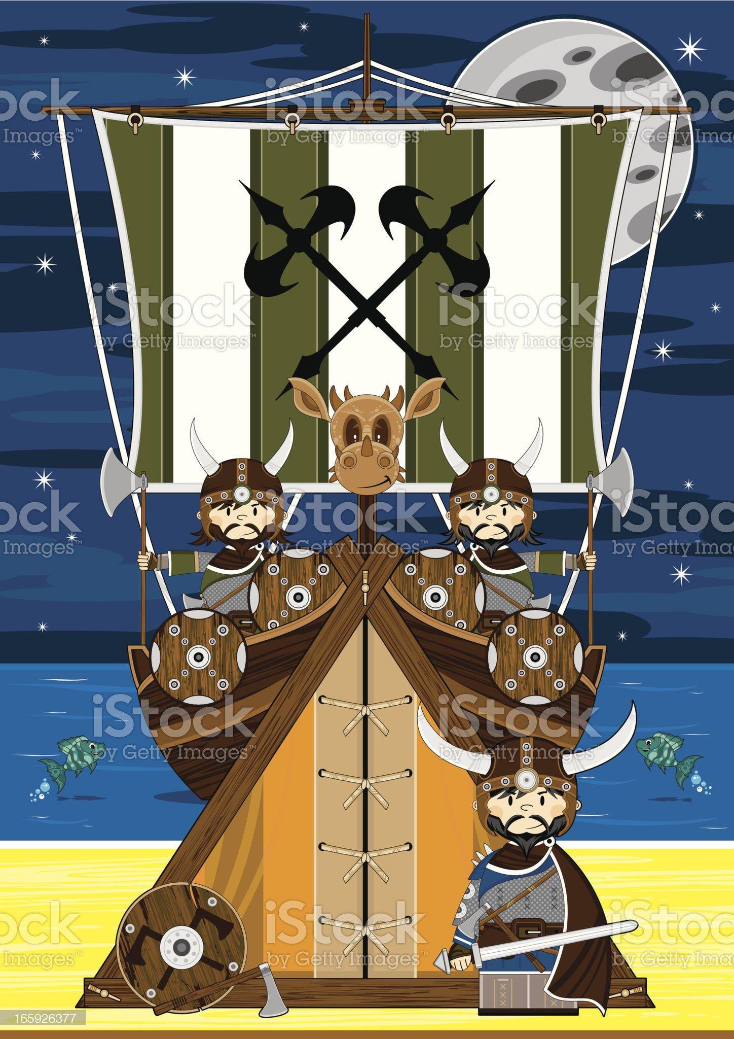 Fierce Viking Warriors Scene royalty-free stock vector art