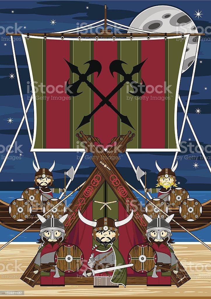 Fierce Viking Warriors & Ship Scene royalty-free stock vector art