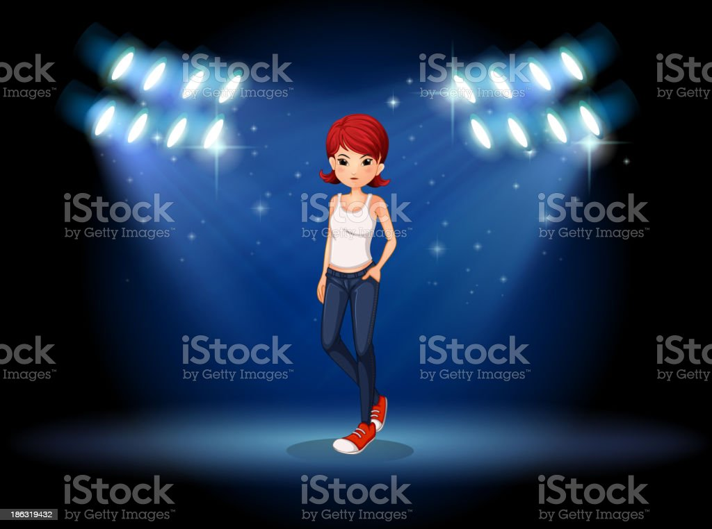 fierce-looking young girl standing the middle of stage royalty-free stock vector art