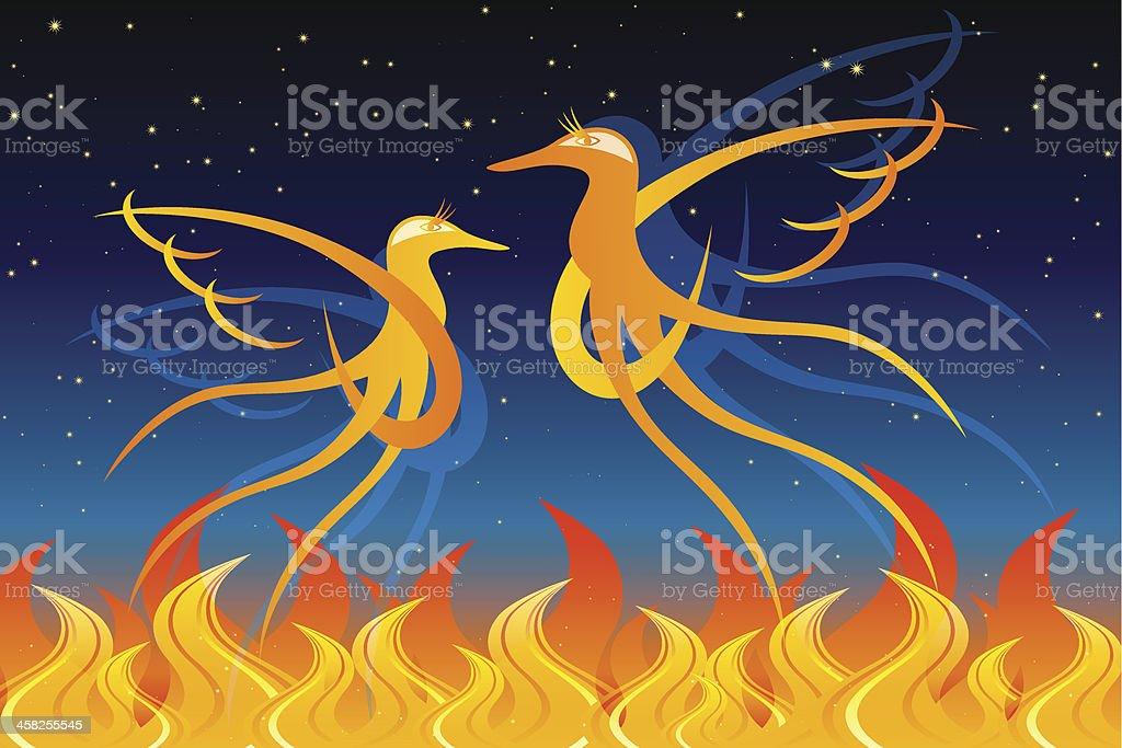 Fiery Birds royalty-free stock vector art